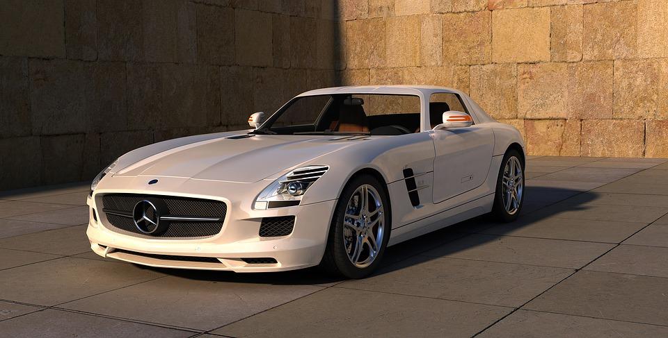 biele auto, Mercedes